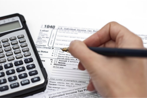 filling out income tax forms